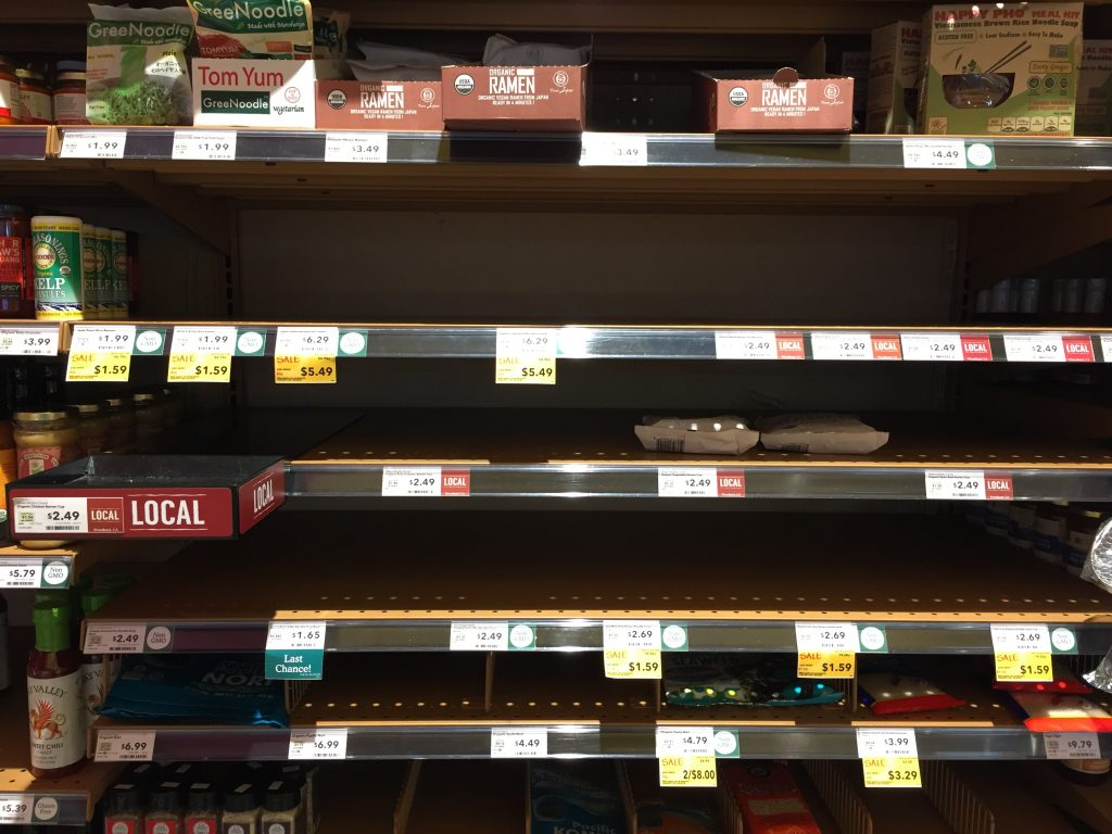 Empty ramen shelves at Whole Foods. Got better .